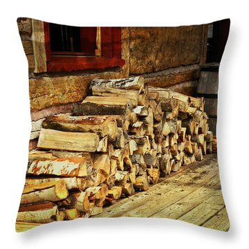 Wood Throw Pillow by Marty Koch