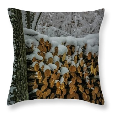 Wood Pile Throw Pillow by Paul Freidlund
