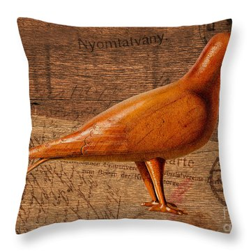 Wood Postal Pigeon Throw Pillow