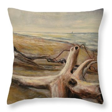 Wood Sand Water And Sky Throw Pillow