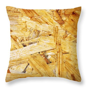 Wood Splinters Background Throw Pillow by Carlos Caetano