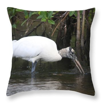 Throw Pillow featuring the photograph Wood Stork In The Swamp by Christiane Schulze Art And Photography