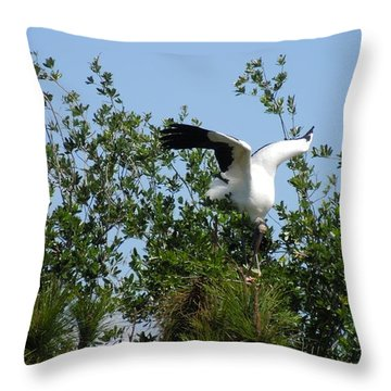 Throw Pillow featuring the photograph Wood Stork by Ron Davidson