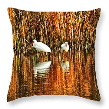 Wood Storks And 2 Ibis Throw Pillow by Bill Barber
