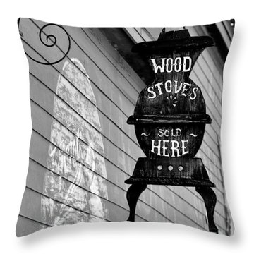 Wood Stoves Sold Here Throw Pillow by Christine Till