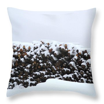 Wood Under Snow Throw Pillow