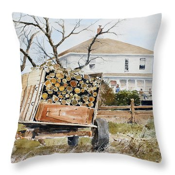 Wood Wagon Throw Pillow