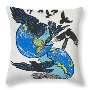 Woodcut Cover Illustration For Corvidae - Poems By Bj Buckley Throw Pillow