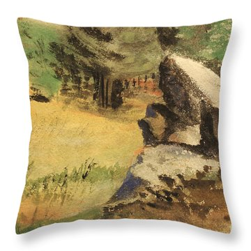 Wooded Outcrop - North Carolina   1939  Throw Pillow
