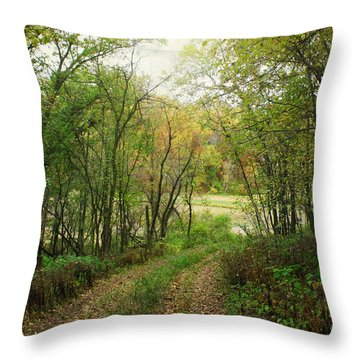 Wooded Path Throw Pillow by Inspired Arts