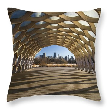 Wooden Arch In Late Afternoon Sun Throw Pillow