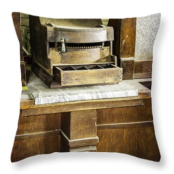 Throw Pillow featuring the photograph Wooden Bank Cash Register by Betty Denise