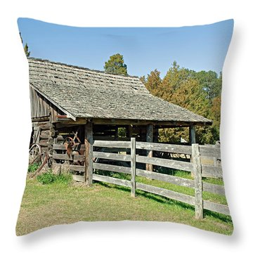 Throw Pillow featuring the photograph Wooden Barn by Charles Beeler