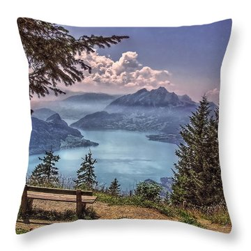 Throw Pillow featuring the photograph Wooden Bench by Hanny Heim