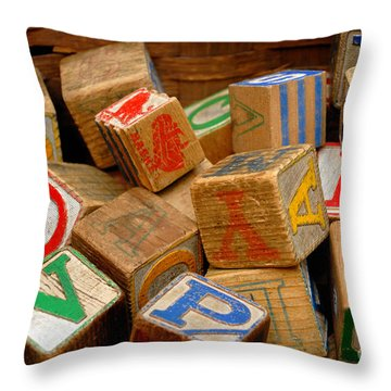 Wooden Blocks With Alphabet Letters Throw Pillow by Amy Cicconi