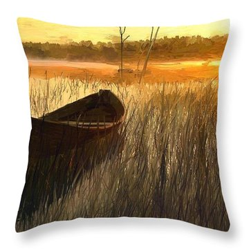 Wooden Boat Finland Throw Pillow