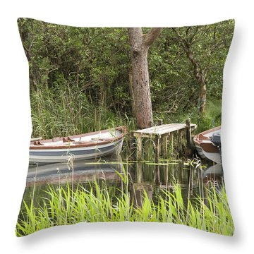 Wooden Boats Throw Pillow by Jeremy Voisey