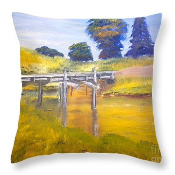 Throw Pillow featuring the painting Wooden Bridge At Graften by Pamela  Meredith