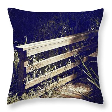 Wooden Bridge Throw Pillow by Beth Williams