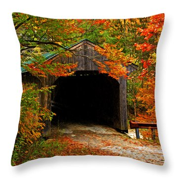 Wooden Bridge Throw Pillow by Bill Howard