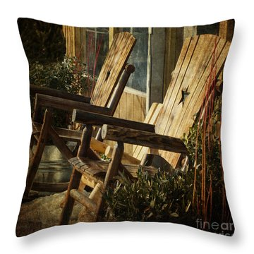 Wooden Chairs Throw Pillow by Judy Wolinsky