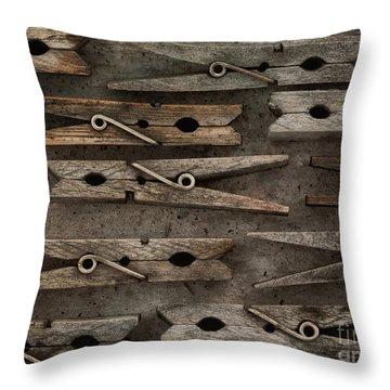 Wooden Clothespins Throw Pillow by Priska Wettstein