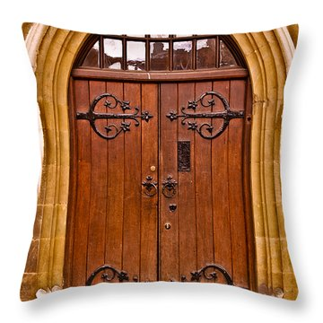 Wooden Door At Tower Hill Throw Pillow