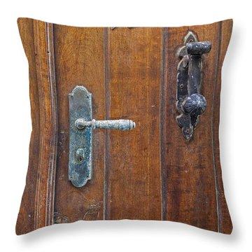 Throw Pillow featuring the photograph Wooden Door In Old San Juan by Bryan Mullennix
