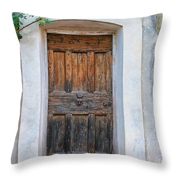 Wooden Door With Yellow Rose Throw Pillow by Sandra Anderson