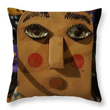 Wooden Face Throw Pillow