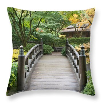 Throw Pillow featuring the photograph Wooden Foot Bridge In Japanese Garden by JPLDesigns