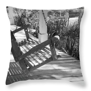 Wooden Front Porch Swing Throw Pillow