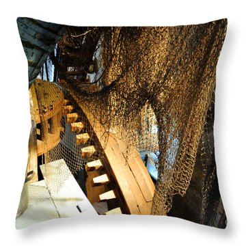 Wooden Gears Throw Pillow
