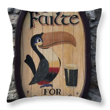 Wooden Guinness Sign Throw Pillow