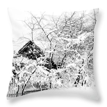 Wooden House After Heavy Snowfall. Russia Throw Pillow