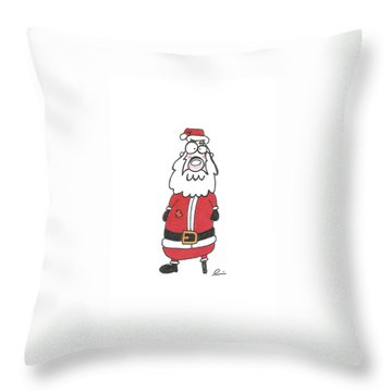Wooden Leg Santa Throw Pillow