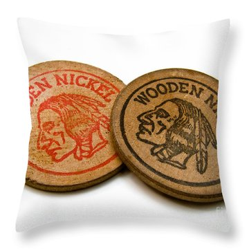 Wooden Nickels Throw Pillow by Amy Cicconi
