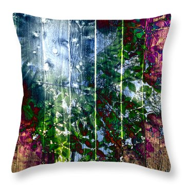 Wooden Planks And Sunlight Streaming Through Leaves I Throw Pillow