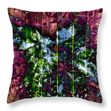 Wooden Planks And Sunlight Streaming Through Leaves II Throw Pillow