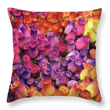 Wooden Roses Throw Pillow by Geraldine Alexander