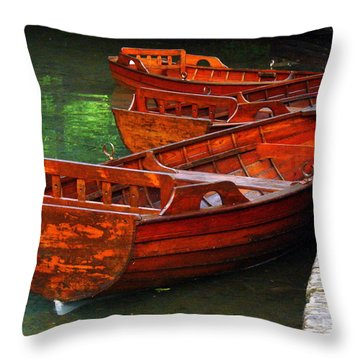 Throw Pillow featuring the photograph Wooden Rowboats by Ramona Johnston