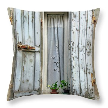 Wooden Shutters In Urbino Throw Pillow by Jennie Breeze