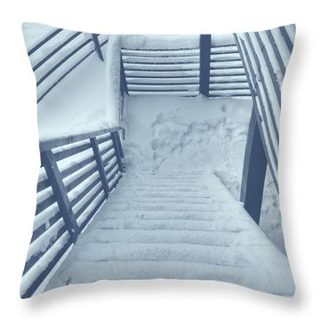 Wooden Steps Covered With Snow Throw Pillow by Vlad Baciu