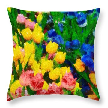 Wooden Tulips In Amsterdam Throw Pillow by George Atsametakis