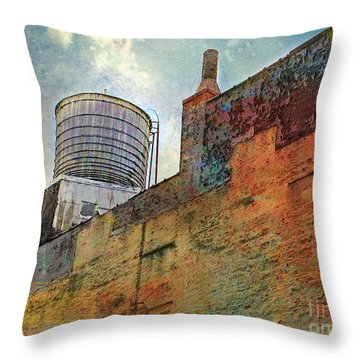 Wooden Water Tower New York City Roof Top Throw Pillow