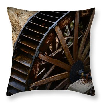 Wooden Water Wheel Throw Pillow by Paul Ward