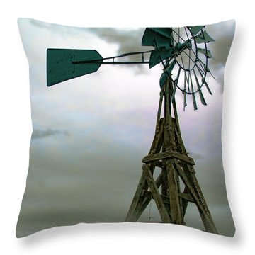 Wooden Windmill Throw Pillow