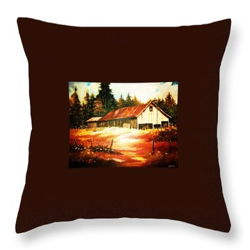 Woodland Barn In Autumn Throw Pillow by Al Brown