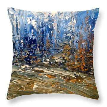 Woodland Blues And Browns Throw Pillow