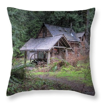 Cabin In The Woods Throw Pillows